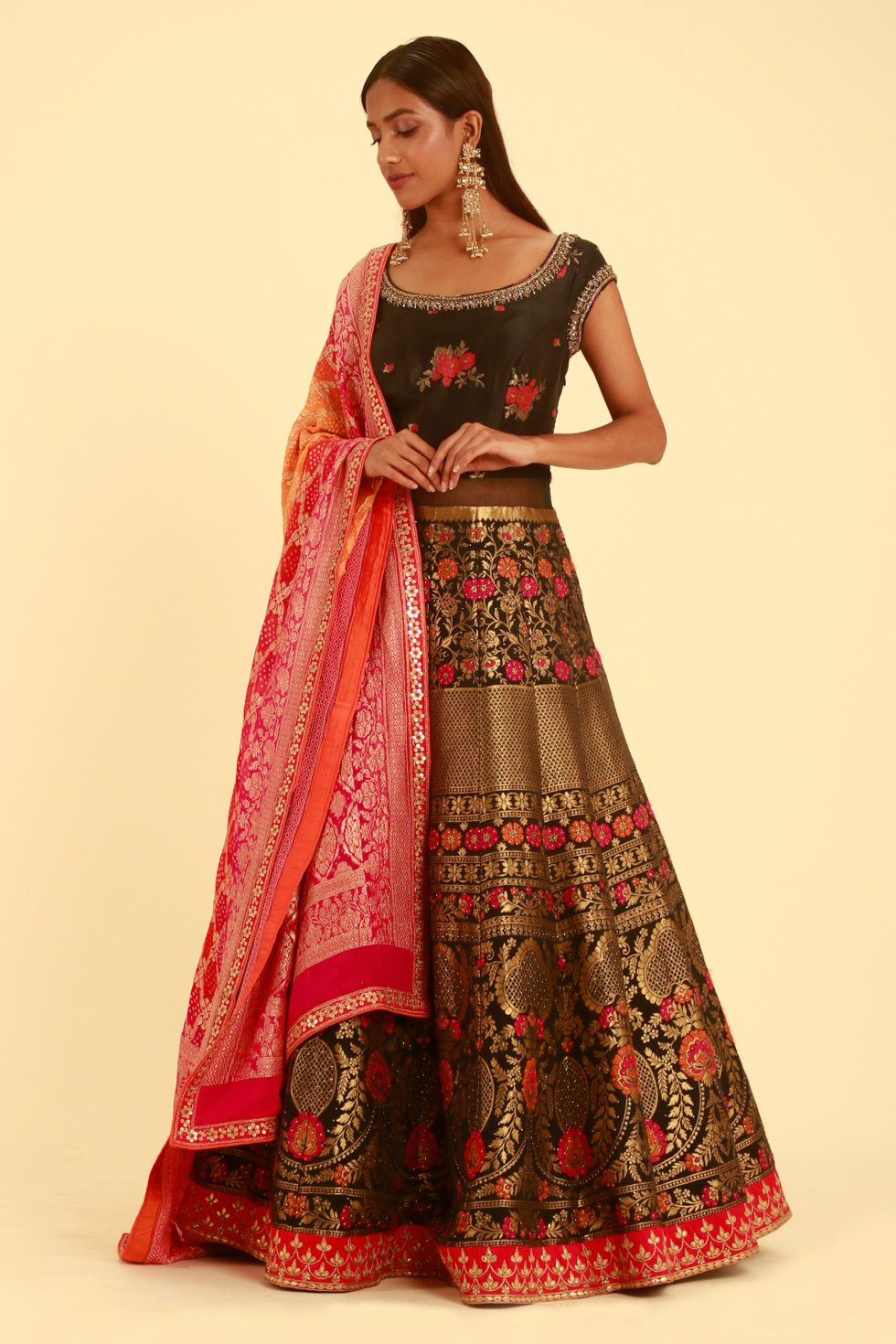 Black And Gold Banarasi Anarkali Gown Set with Contrast Floral Work And Contrast Pink Banarasi Dupatta