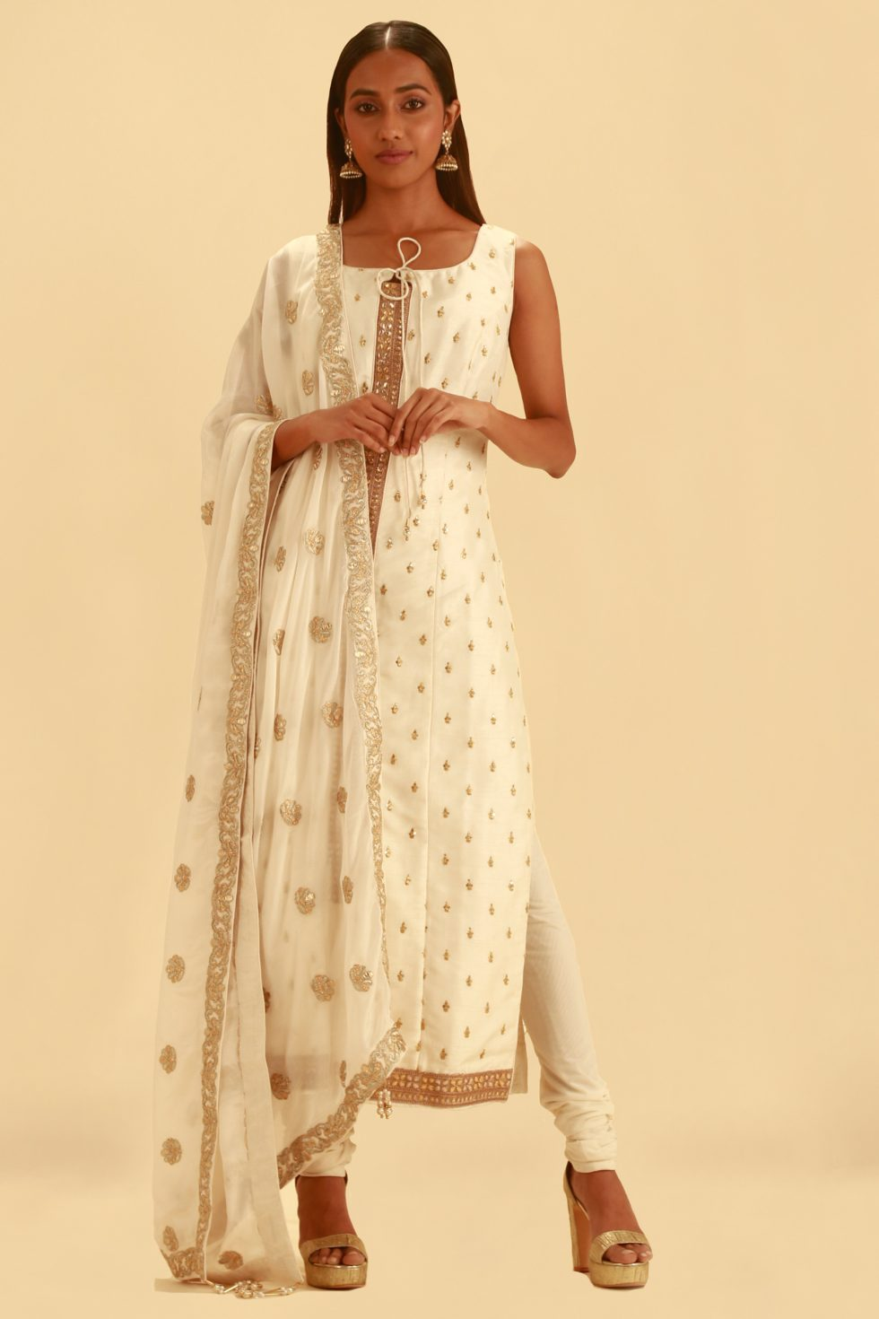 Straight Cut White Churidar Set with Gold Embellishments and Matching Dupatta