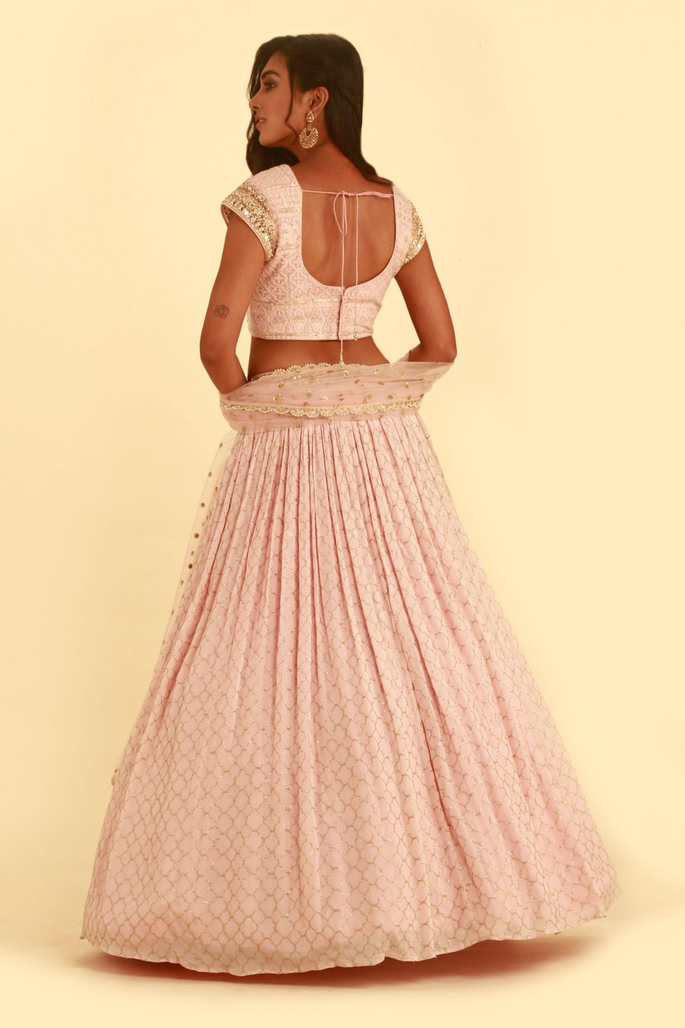 Baby pink and gold lehenga set with jewellery neckline and matching dupatta