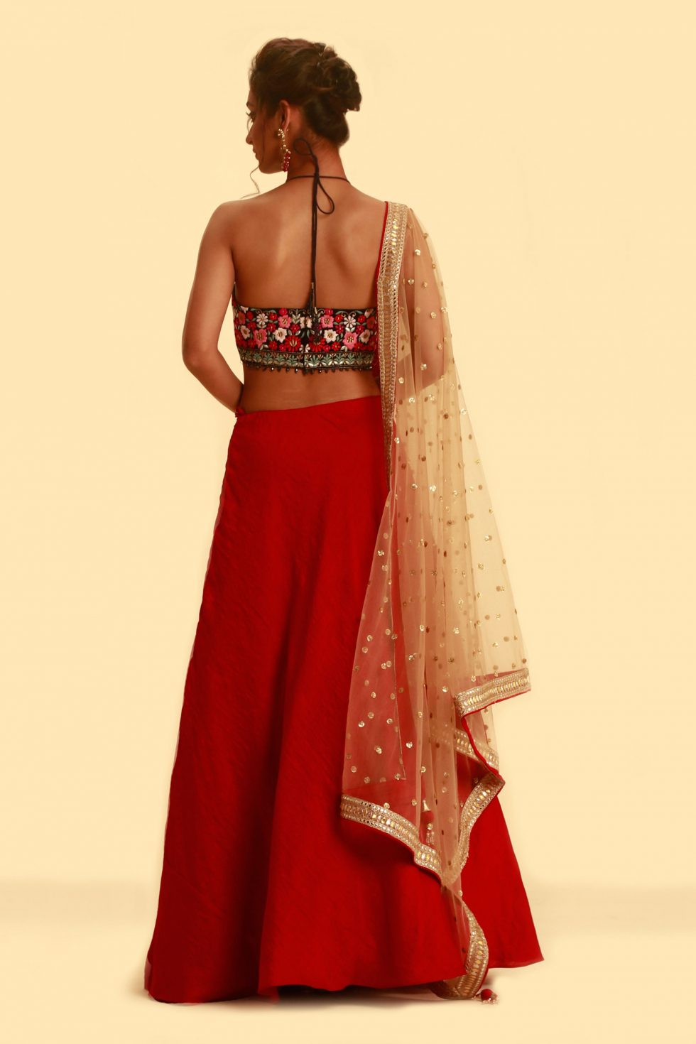 Black halter crop top with multi coloured embroidery and contrast red skirt with gold dupatta