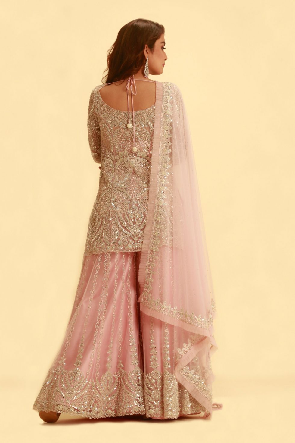 Baby pink salwar set with palazzo pants and matching dupatta with silver embroidery