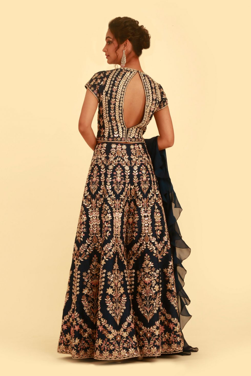 Navy blue palazzo set with multi coloured embroidery, gota work, cut out detail and matching ruffled dupatta