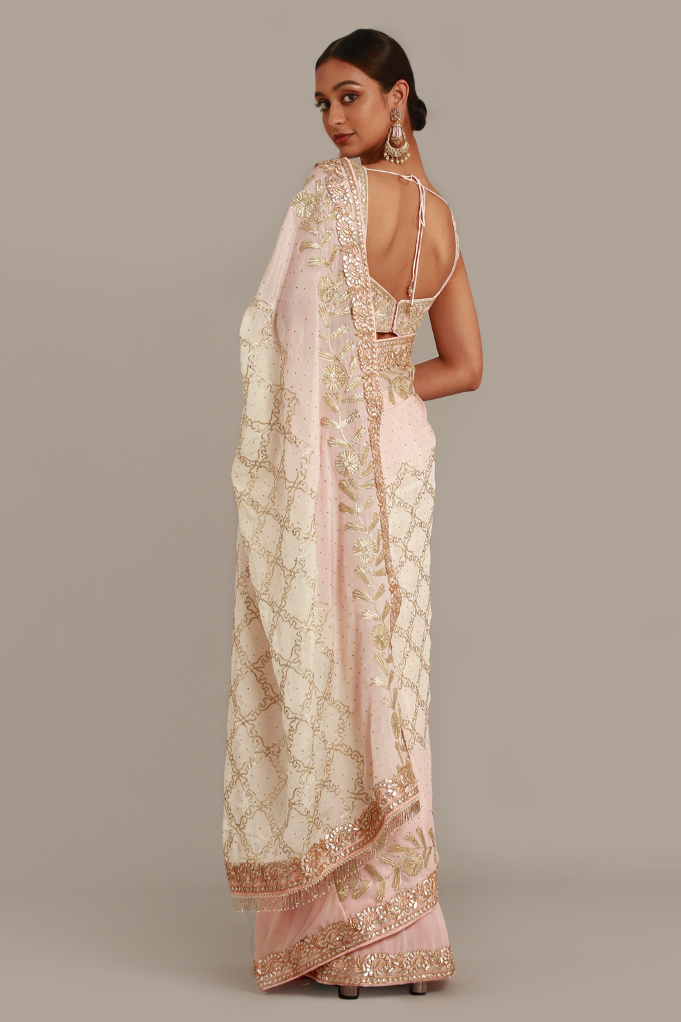 Rose pink classic saree with contrast ombré pallu with gota work, matching blouse and gold embellishments