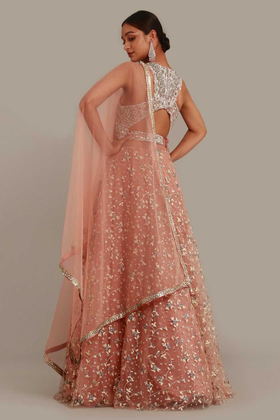 Petal pink Anarkali Gown set with contrast embroidery, matching dupatta and cutout blouse with silver embellishments