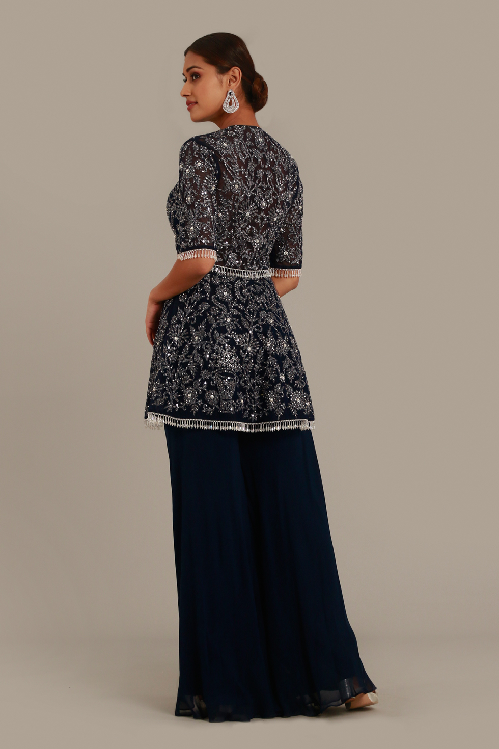 Navy blue palazzo set with peplum top, silver grey embroidery and tassel detail