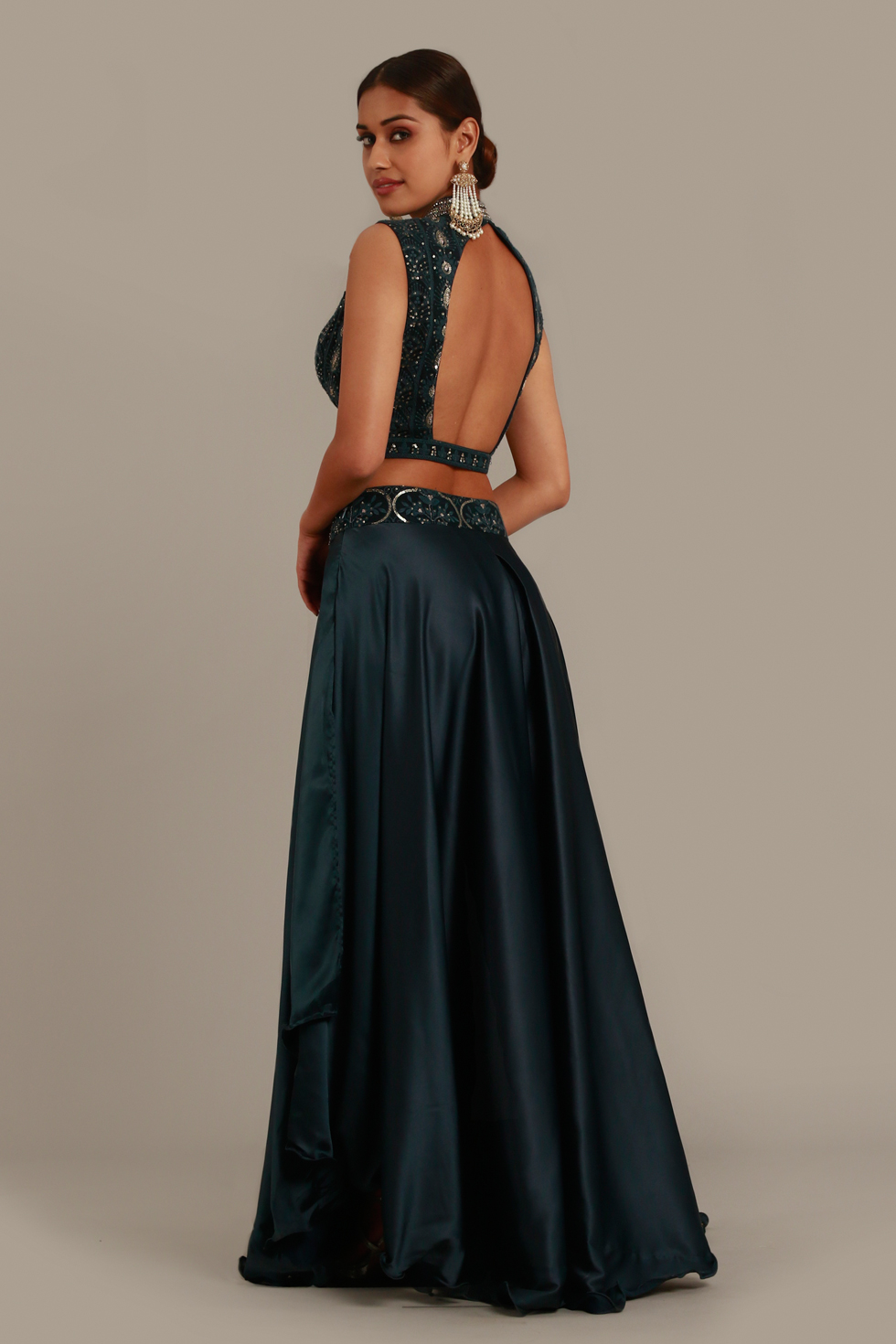 Dark grey draped palazzo pants with matching top, pale gold and thread highlights and matching dupatta