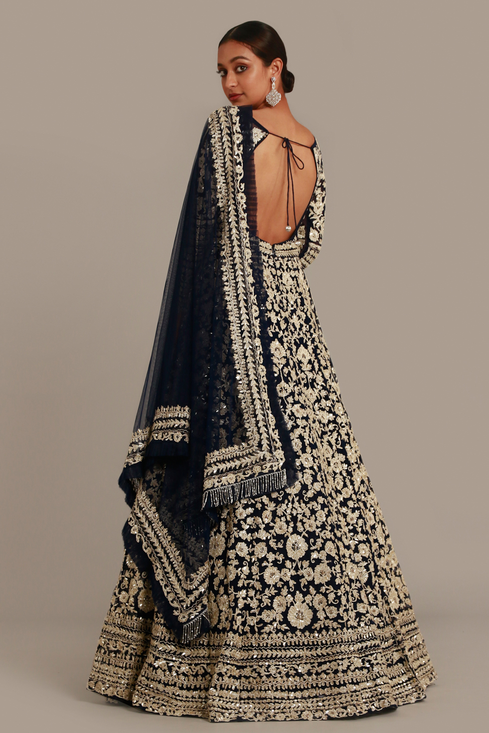 Jet black Anarkali gown set with badla zari embroidery and matching dupatta with frill details