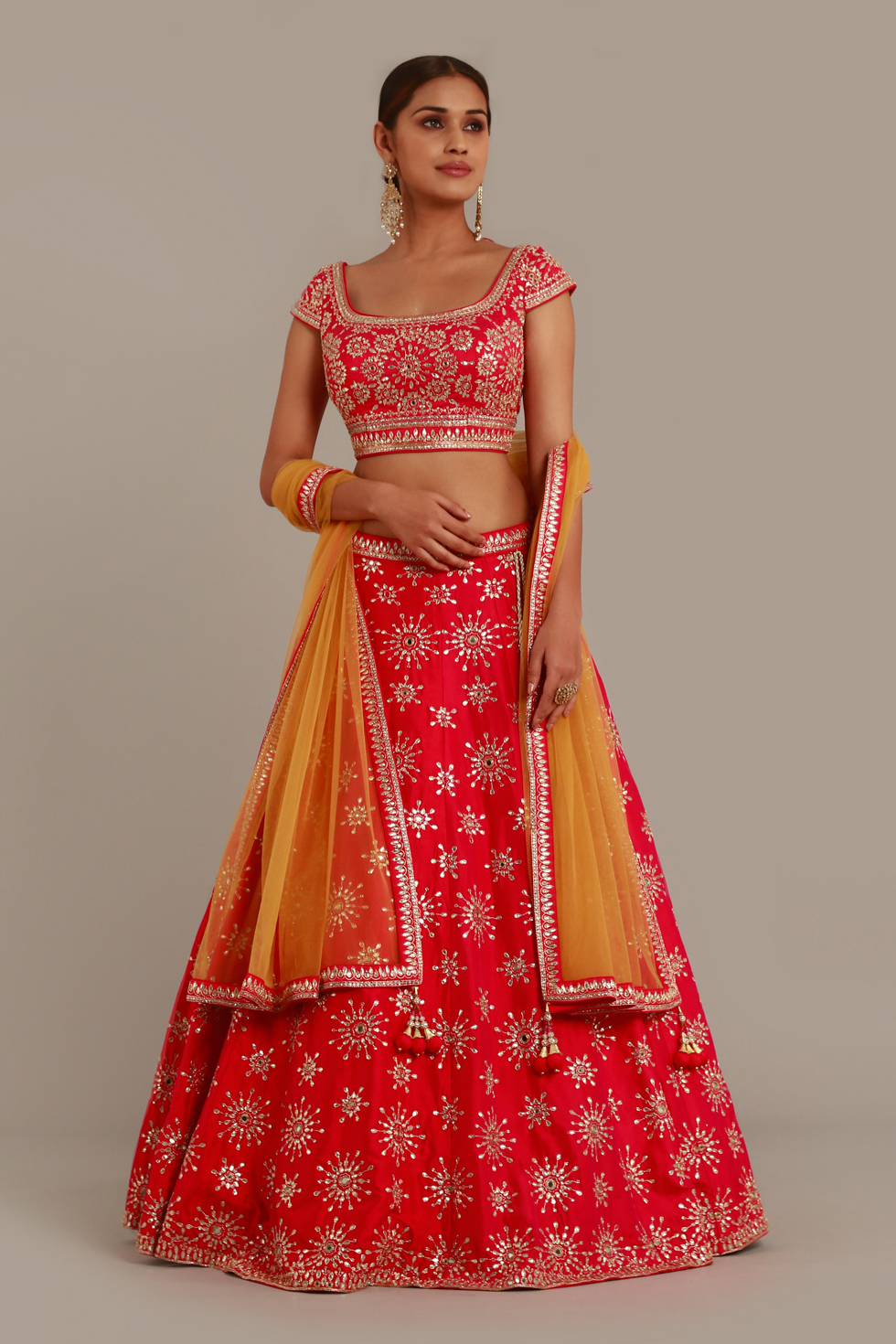 Cherry pink and red lehenga set with gota work and contrast yellow dupatta with matching border