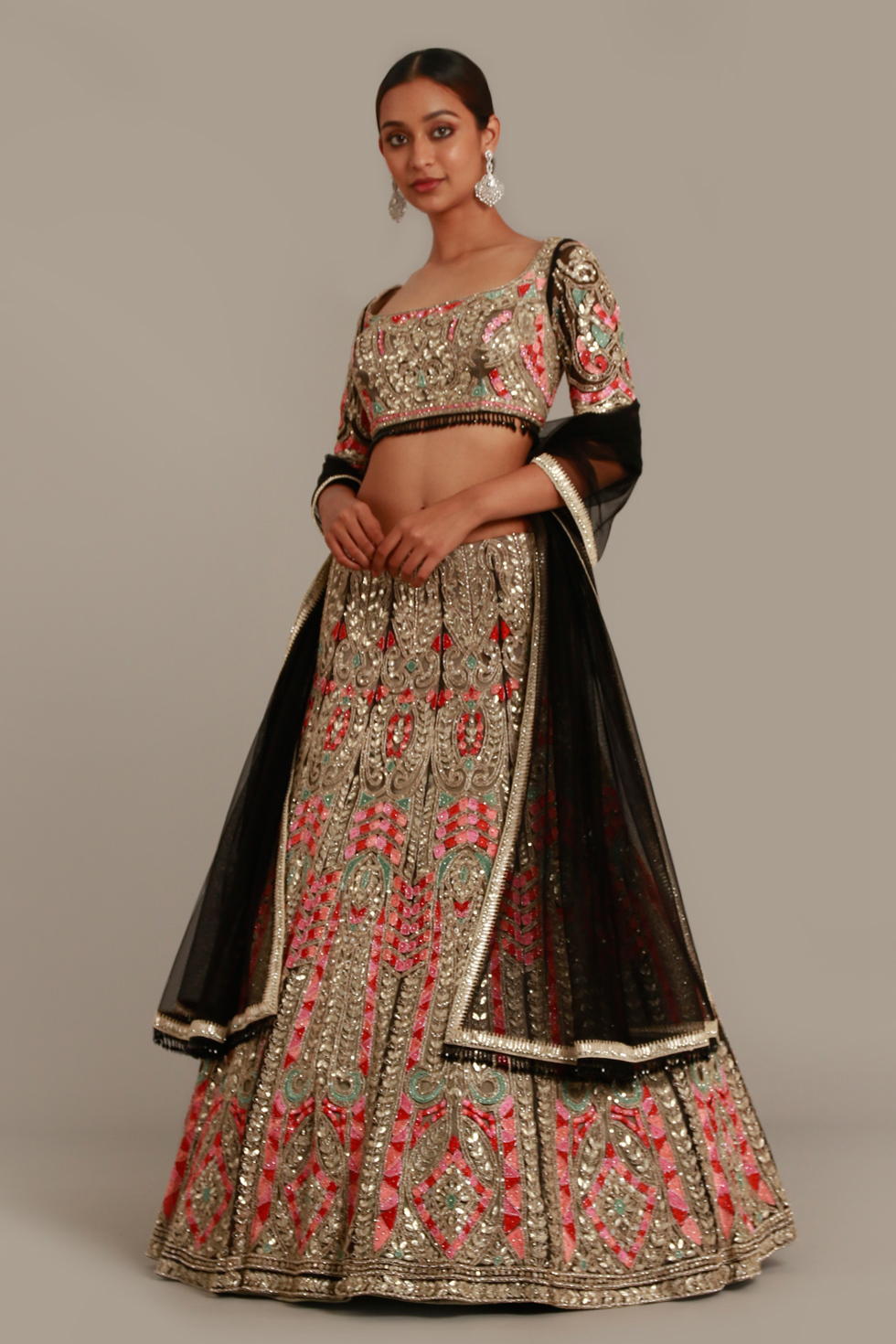 Raven black lehenga set with multi coloured contrast embroidery and matching dupatta with silver and gota work detailing
