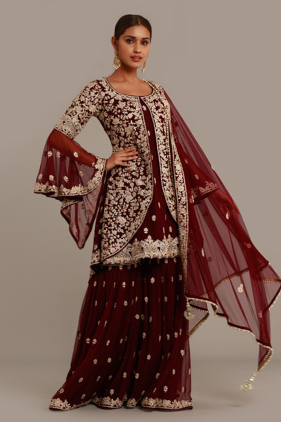 Wine Burgundy Layered Palazzo Set