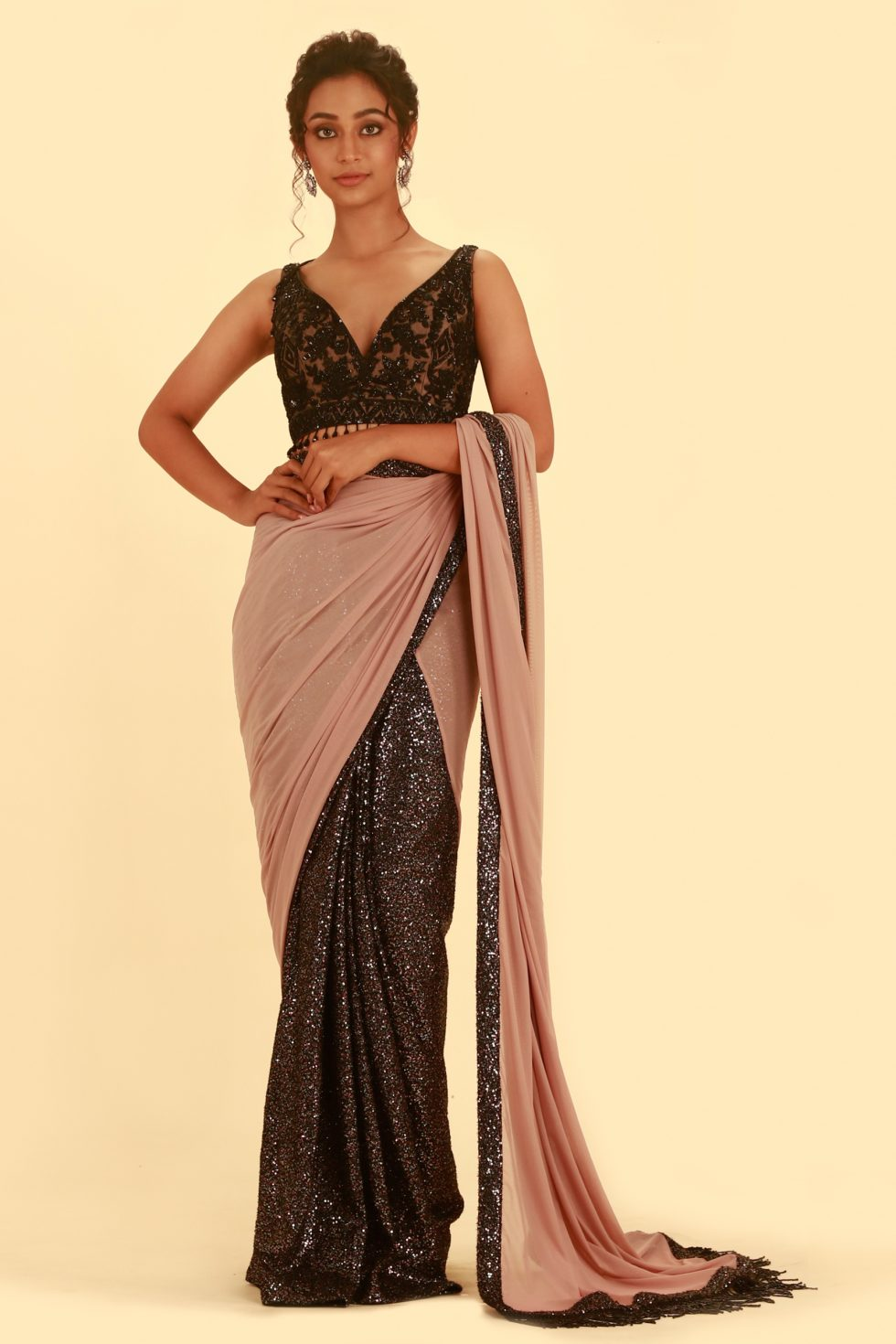 Rose Pink Saree with Contrast Sequin Pleating and Matching Embroidered Blouse