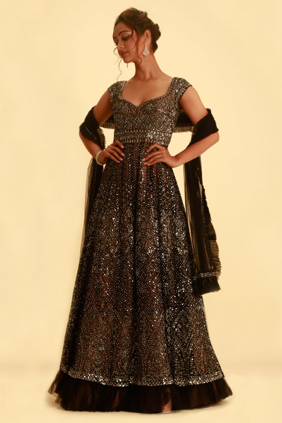 Black and silver Anarkali Gown set with frill dupatta and contrast lining