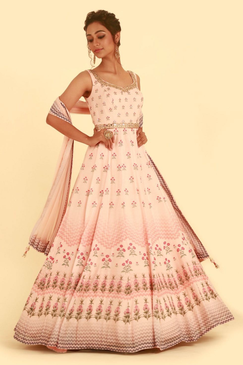 Blush Pink Printed Anarkali Gown Set