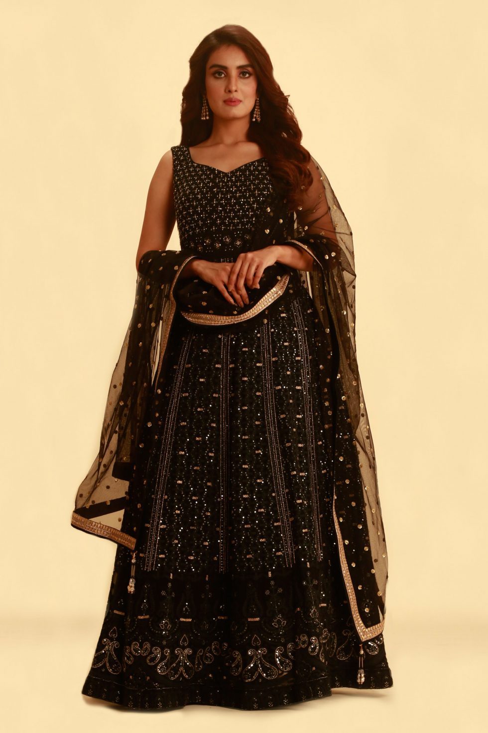 Raven Black Anarkali Gown Set with Gold Embroidery and Matching Dupatta with Butis