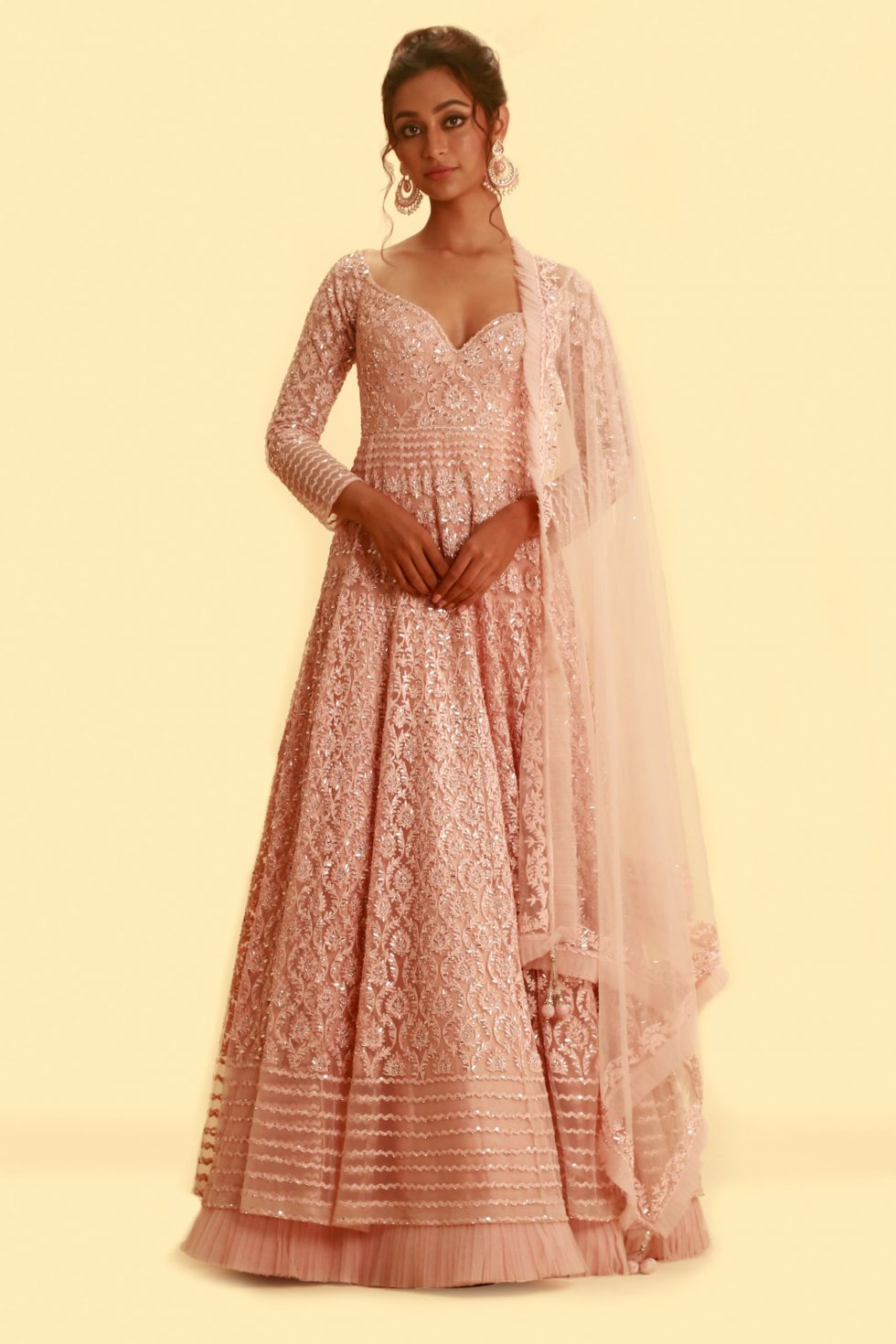 Rose Pink Embroidered Anarkali Gown Set