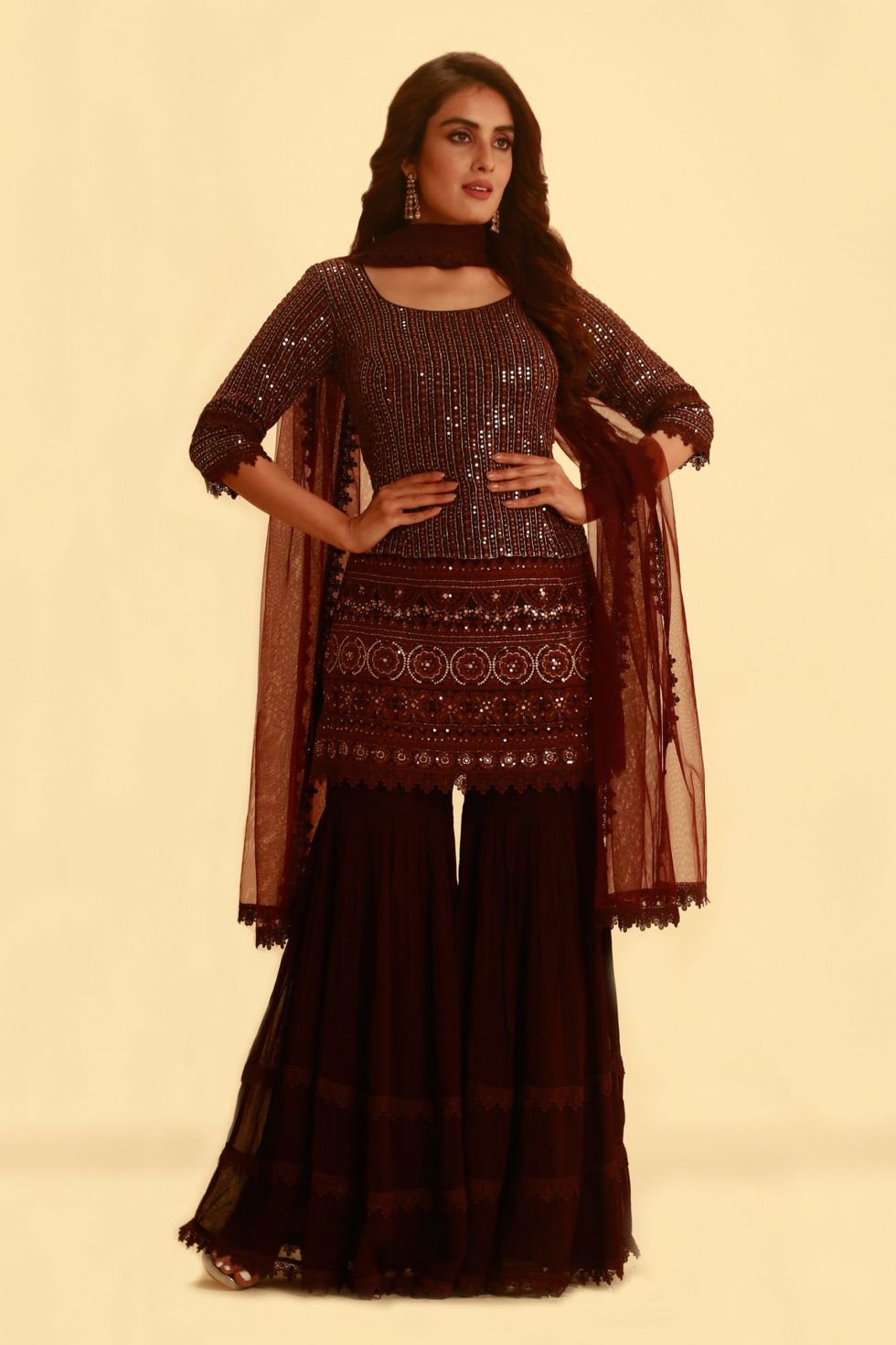 Wine Red Salwar Set with Garara Pants and Matching Net Dupatta