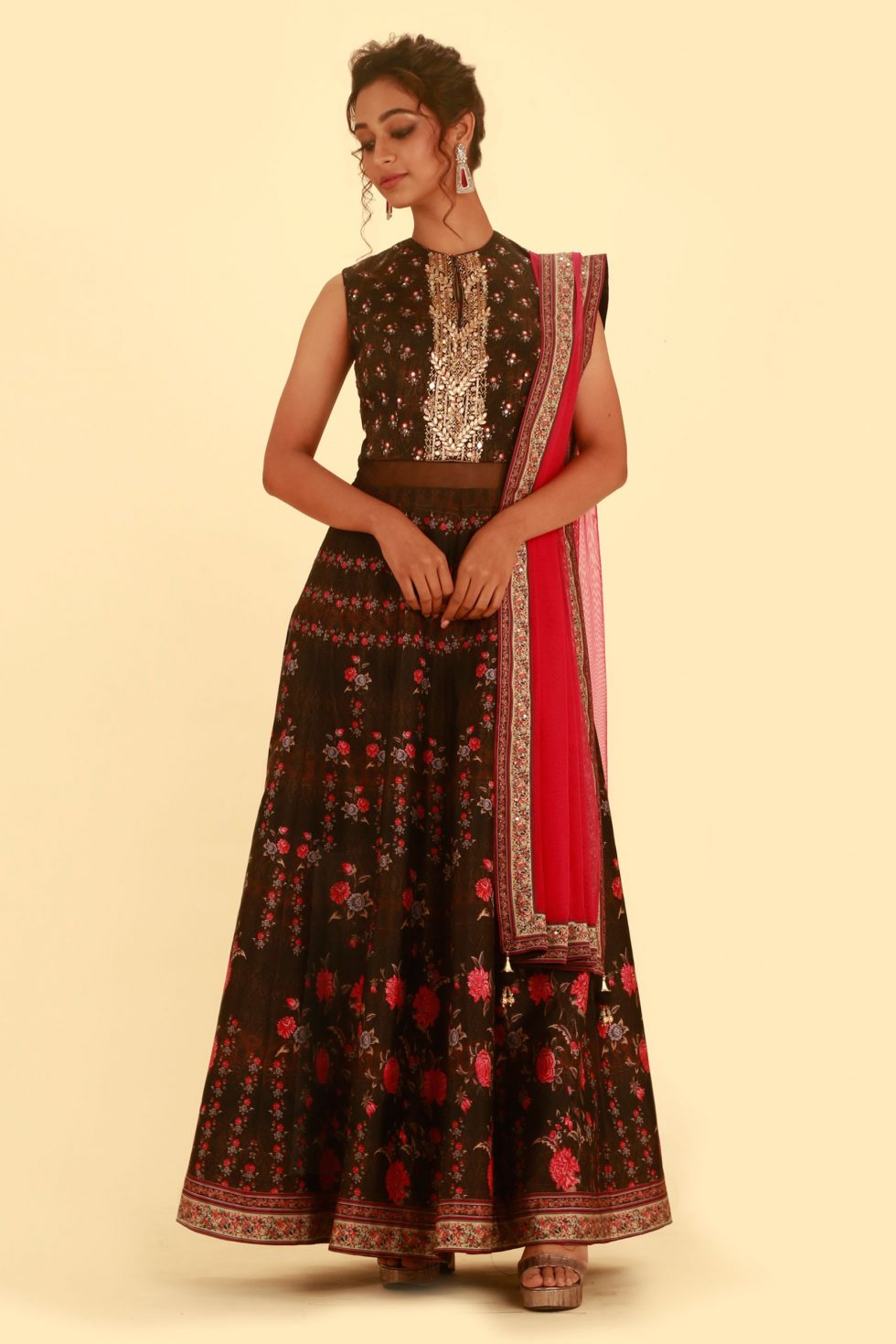 Ash Brown Printed Anarkali Gown Set