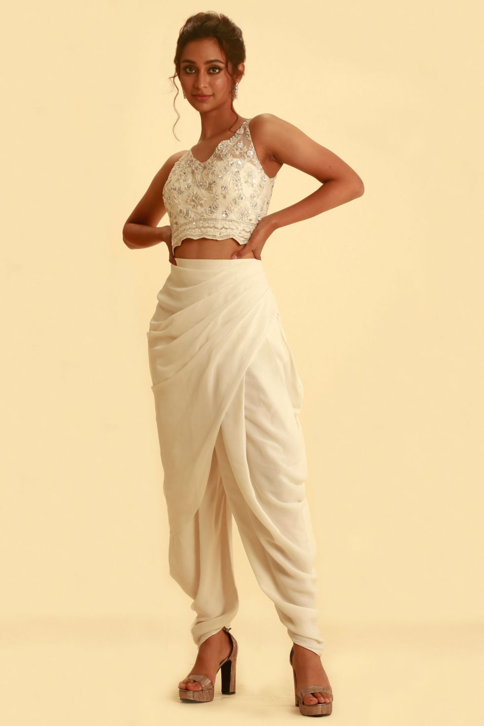 Pearl White Drape Dhoti Set with Self and Silver Embroidery