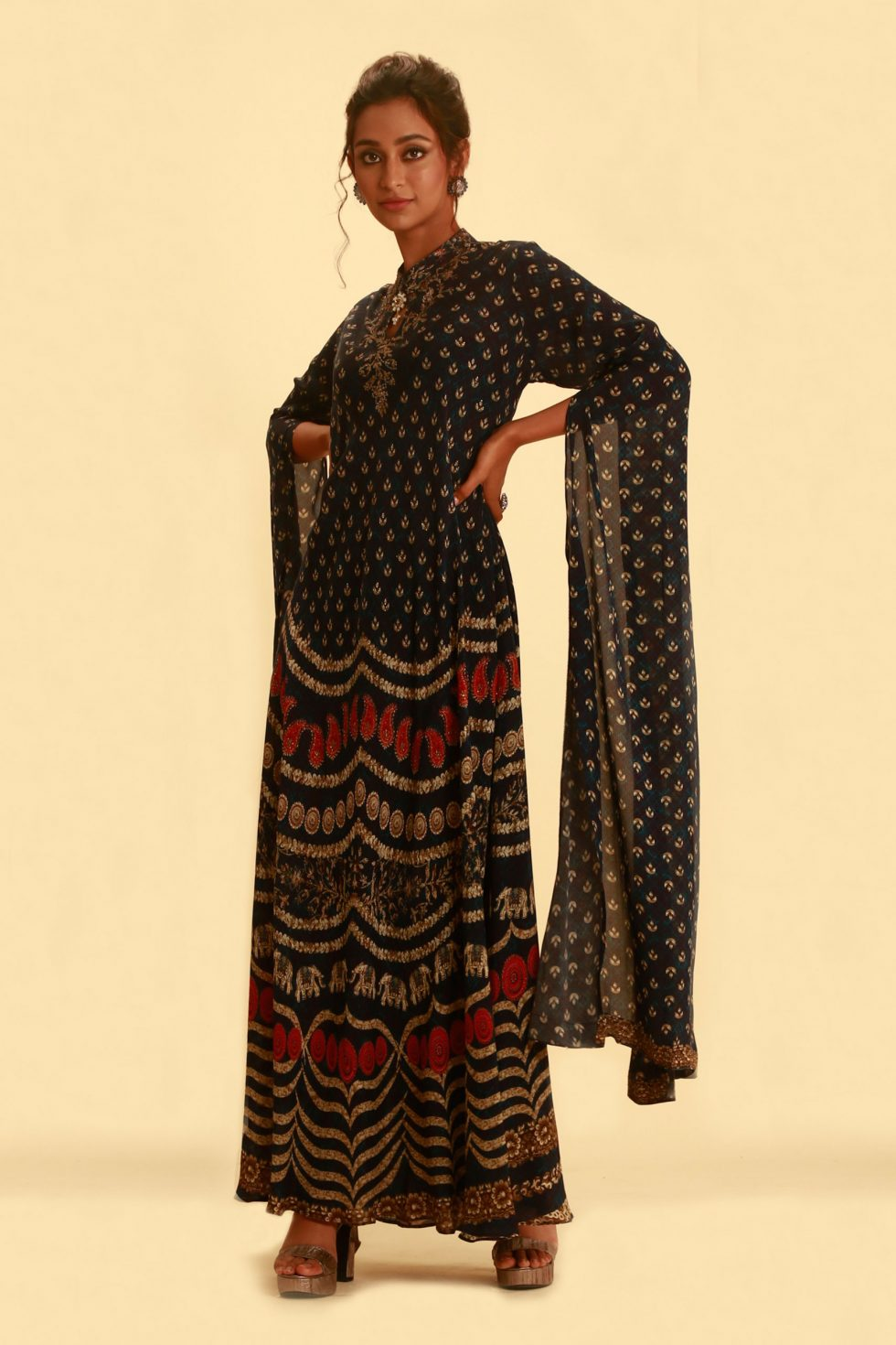Midnight blue printed kurti with slit kaftan sleeves and gold emembellishments