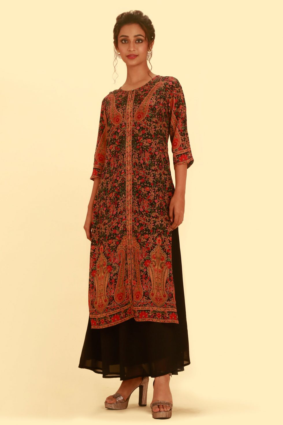 Jet black long tunic kurti with multicoloured floral prints