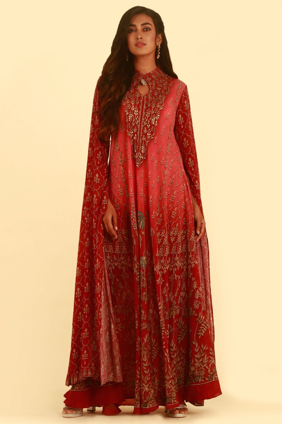 Red pink printed kurti with slit kaftan sleeves and gold emembellishments