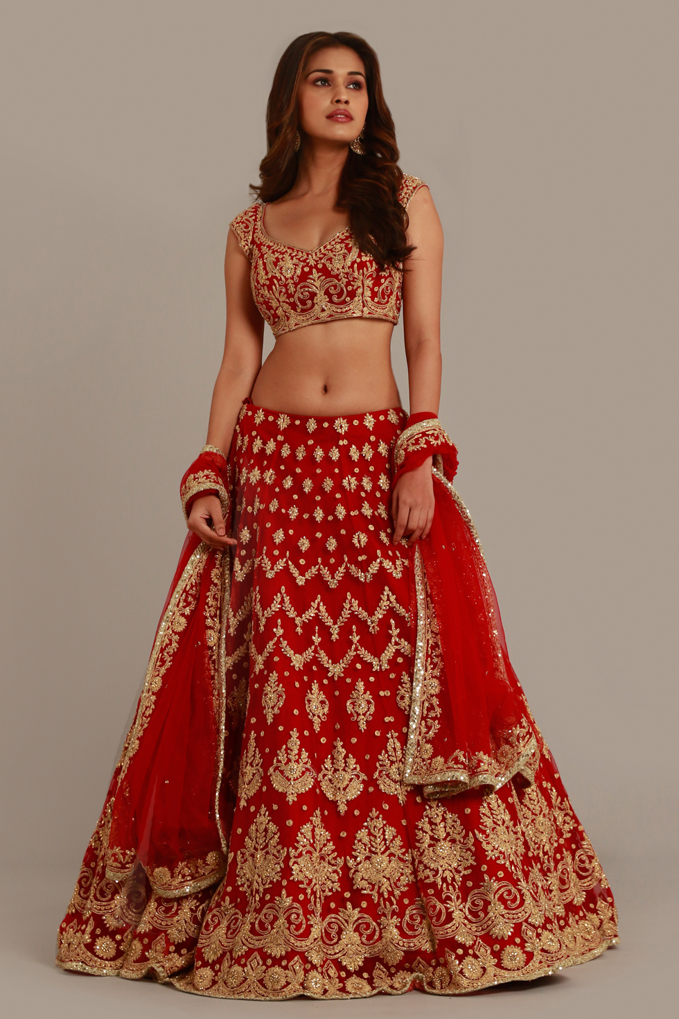 Deep red lehenga set with gold embroidery and matching blouse and dupatta with gold border