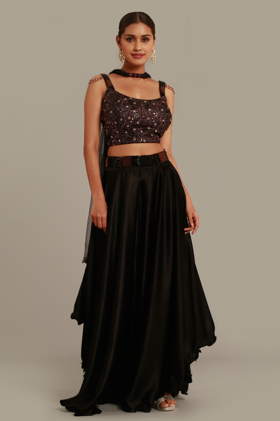 Solid Black Draped Palazzo Pant Set with Embroidered Top and Necklace Dupatta
