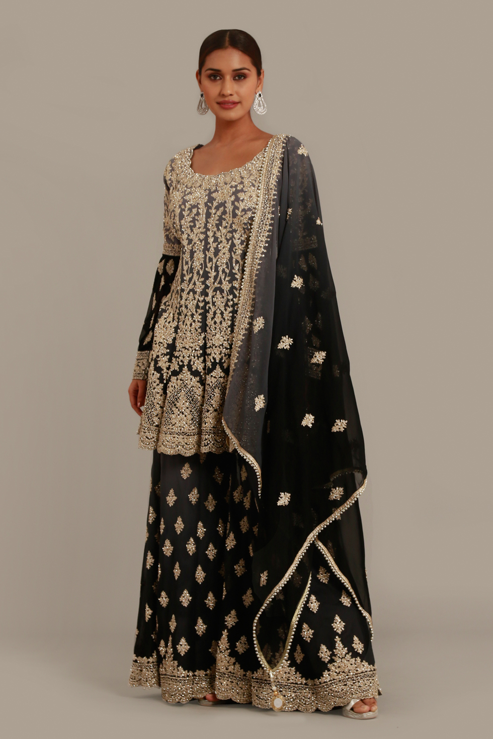 Raven black subtle ombré palazzo set with silver embroidery, peplum top and matching dupatta