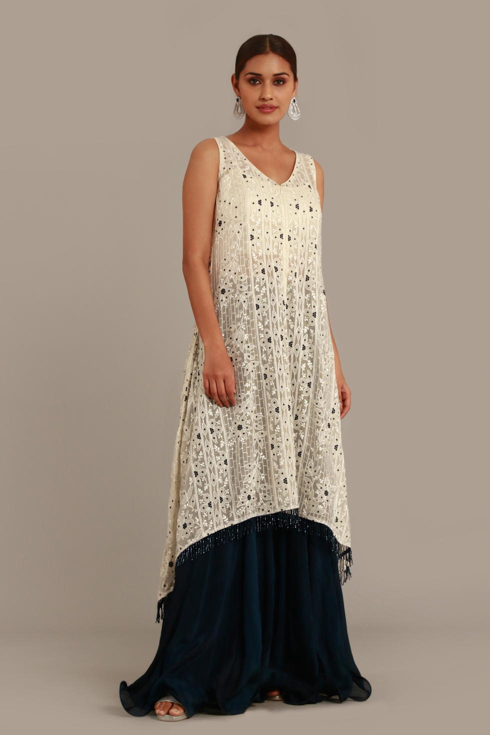 Ivory White Long High-Low Hem Top with Thread Embroidery and Palazzo Pants
