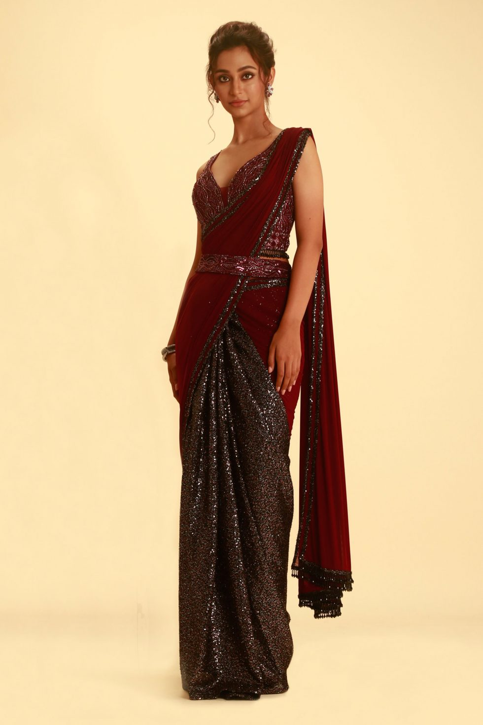 Purple Wine Saree with Contrast Sequin Pleating and Matching Cutout Blouse