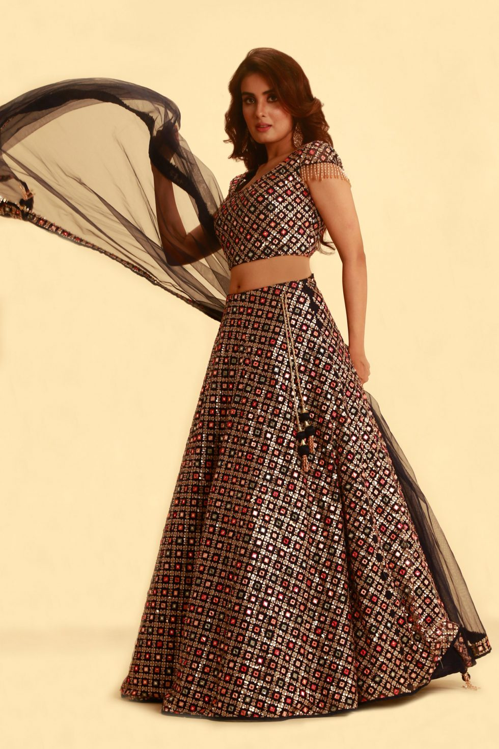 Navy blue lehenga set with multi coloured embroidery and matching dupatta