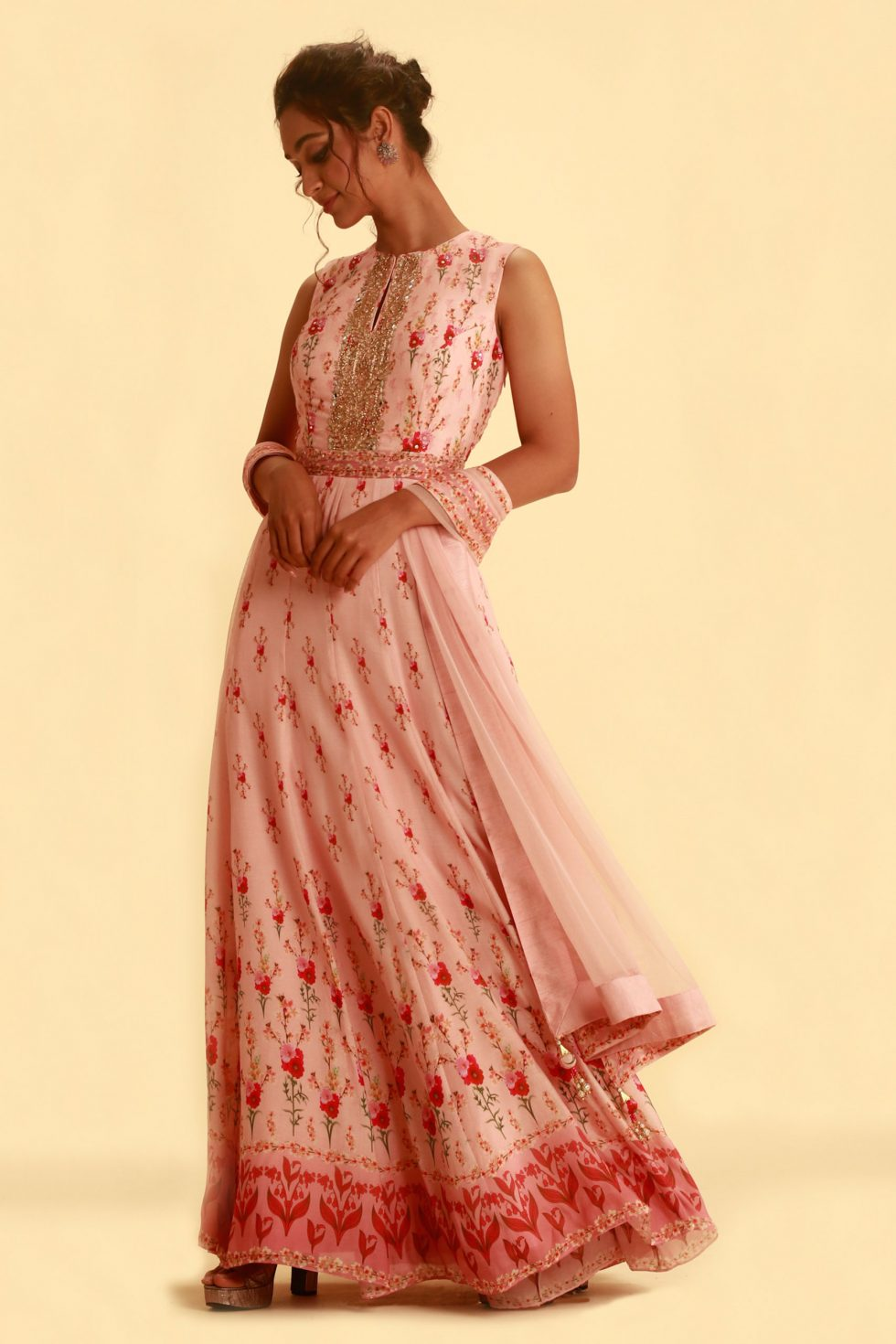 Petal Pink Printed Anarkali Set with Gold Embellishment and Matching Dupatta