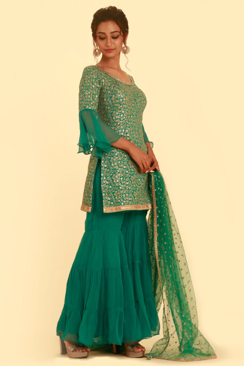 Teal green sharara pant and salwar set with gold embroidery, bell sleeves and matching dupatta