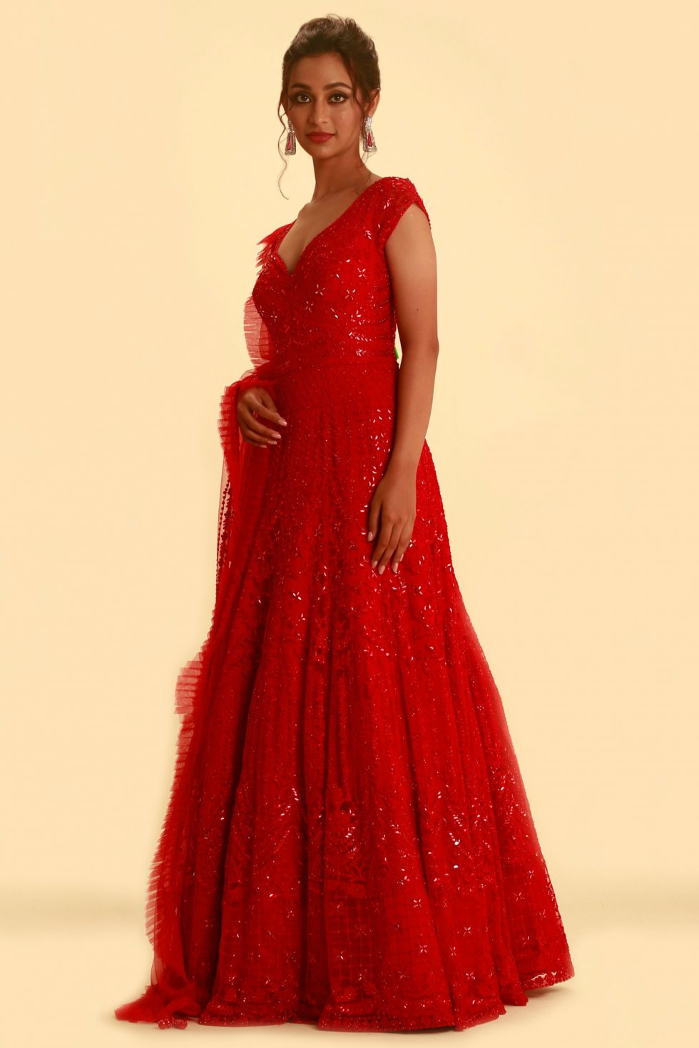 Fiery red Anarkali gown set with self embroidery and matching frill dupatta