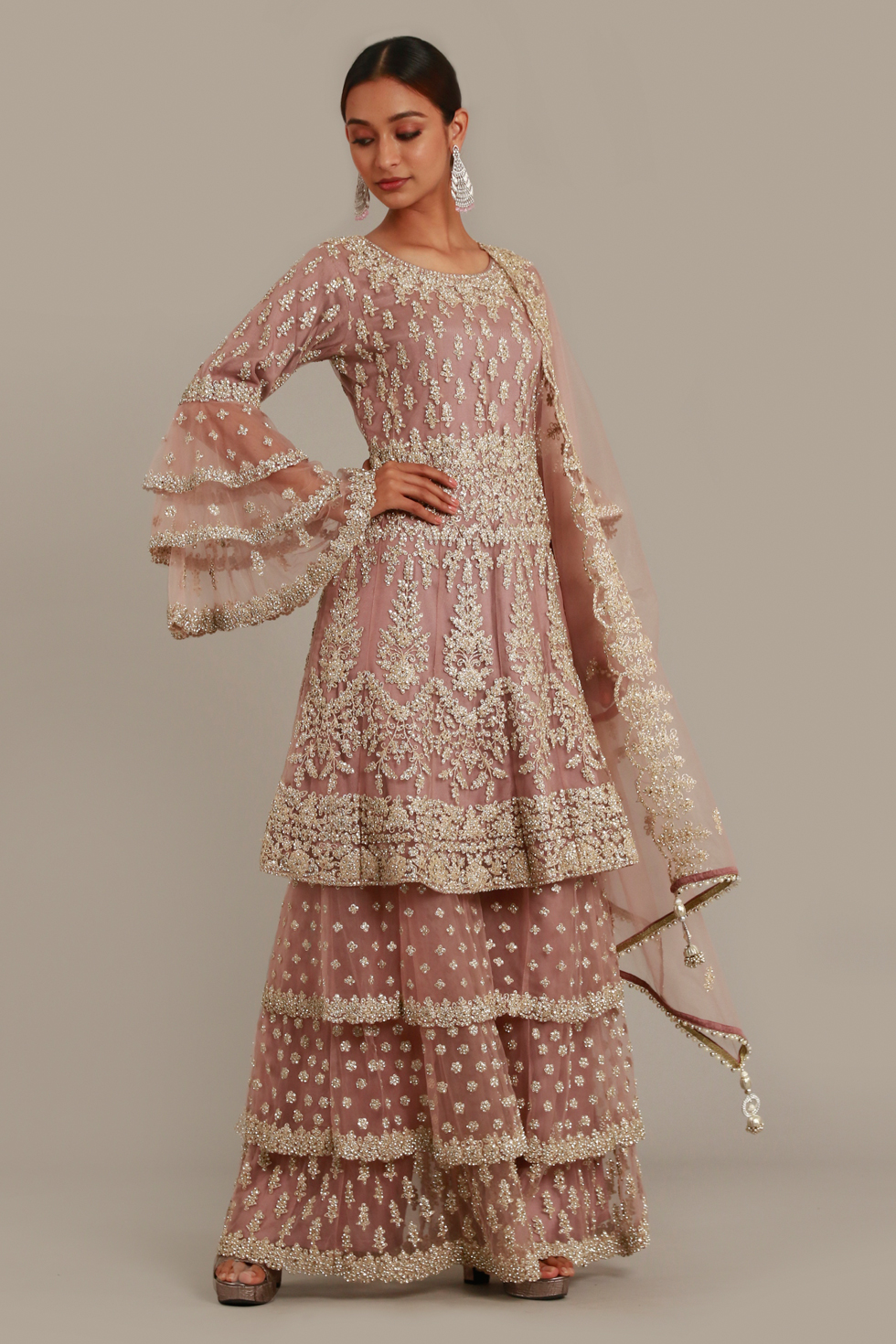 Pale Ice Pink Layered Sharara Set