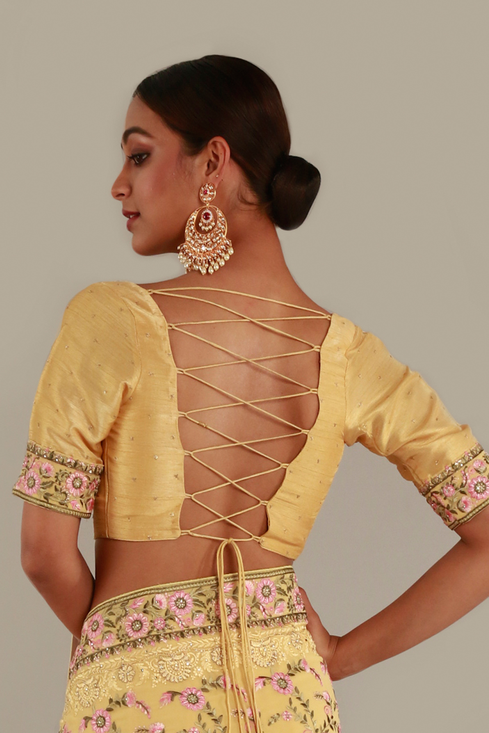 Summer yellow choli with floral border and butis