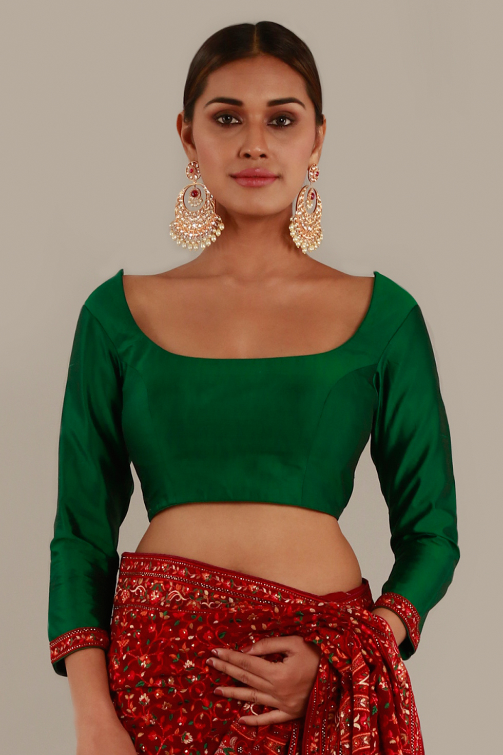 Forest green choli with 3/4th sleeves and floral border