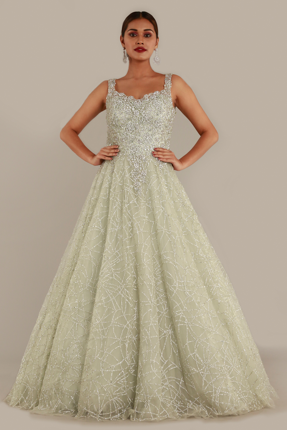 Pastel green shimmery tulle gown with cutwork neckline, silver embroidery and stone embellishments