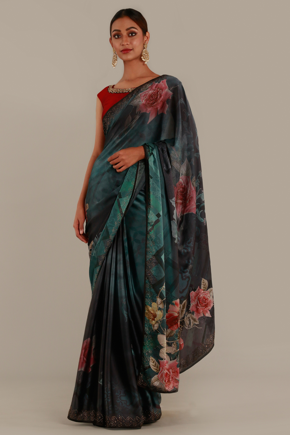 Blueish green classic saree with ombré effect, floral print and contrast red choli with keyhole back